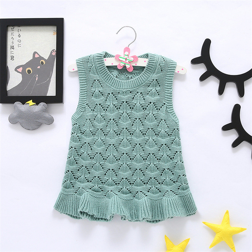MBBGJOY 1-5T Baby Girls Dress Knitted Cotton Hollow Vest Dresses Kids Children Clothes Fashion Wavy Hem Princess Party Clothes(China (Mainland))