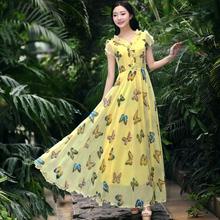YUANZI original 2016 summer new women's short-sleeved chiffon lotus leaf collar elegant noble plus size maxi dress Free Shipping