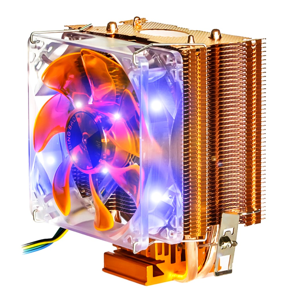 NEW Dual Heat Pipe 3pin Pwm Fan Cpu Cooler Heatsink For Intel for AMD Y002 In stock!(China (Mainland))
