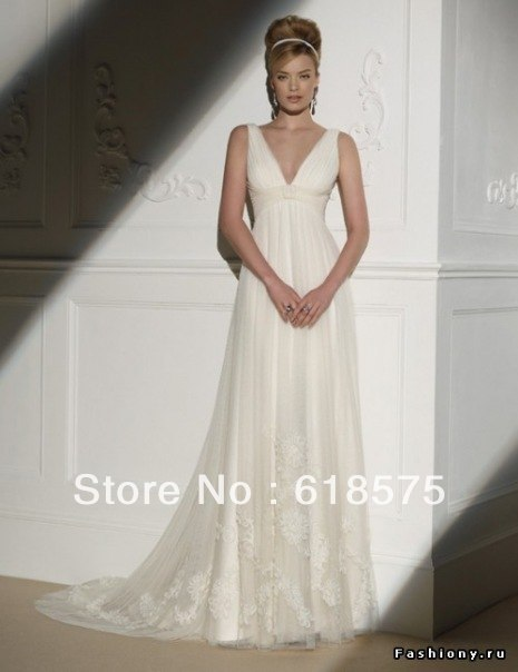Beach v neckline ruched empire waist champagne tulle lace for Empire waist beach wedding dress