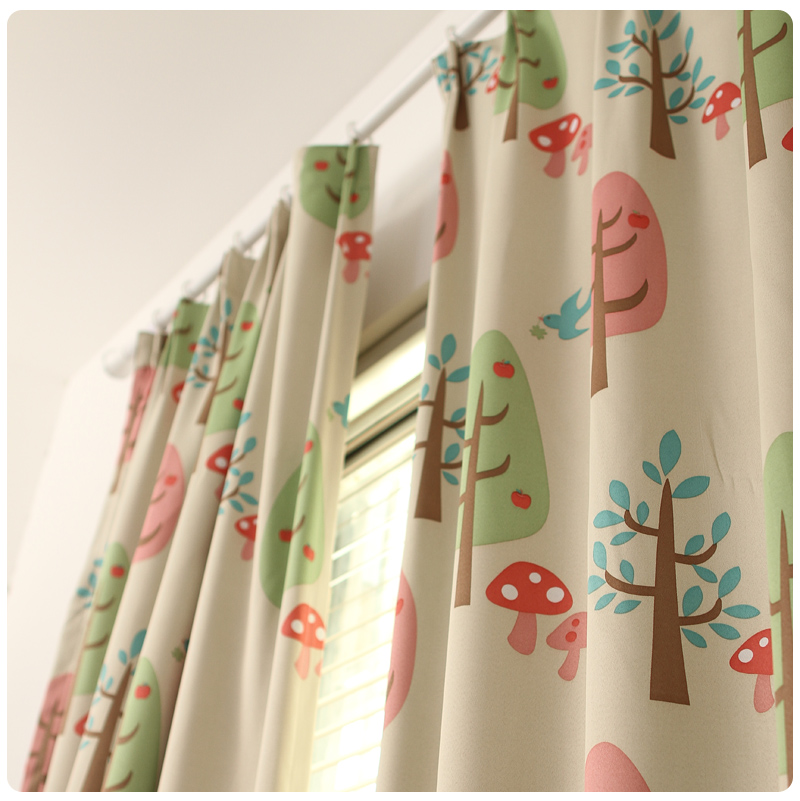 Blackout cute trees curtain for children living room for Cute curtain ideas for living room