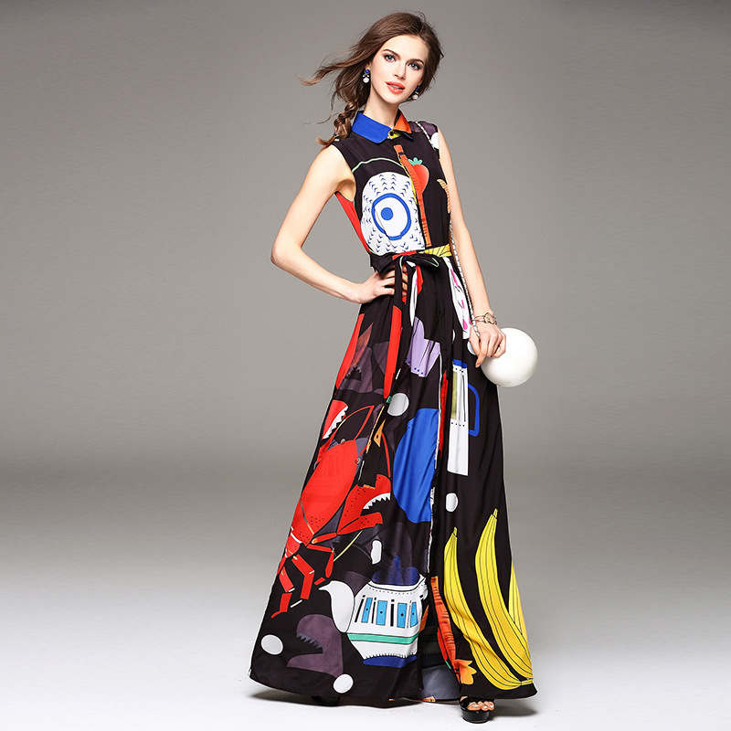 Stunning! New 2016 spring summer brand fashion women silk long chiffon dress sleeveless seafood art print maxi dresses casual