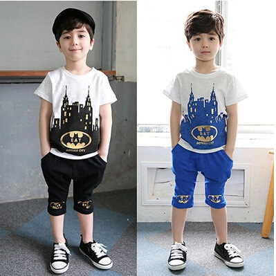 New 2015 summer baby girls boys clothes kids cartoon cotton clothing set 2pcs blue black 2-7y children clothing set wholesale<br><br>Aliexpress