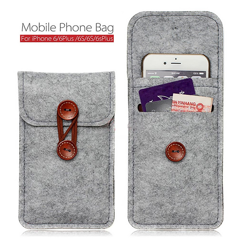 Fashion Mobile Phone Bag Cases Cover 4.7 inch 5.5 inch Wool Felt Wallet Pouch for iPhone 6 6s / 6 6s plus phone bag(China (Mainland))
