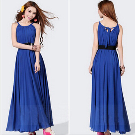 Factory Direct 9 colors 2015 new summer solid color chiffon sleeveless long dress seaside beach Bohemia women dresses Belt - Fashion your life large size shop store