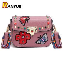 Buy Rivet Butterfly Flower Embroidery Women Messenger Bags Crossbody Bag Women Famous Brands Designer Woman Leather Handbags Purses for $15.69 in AliExpress store