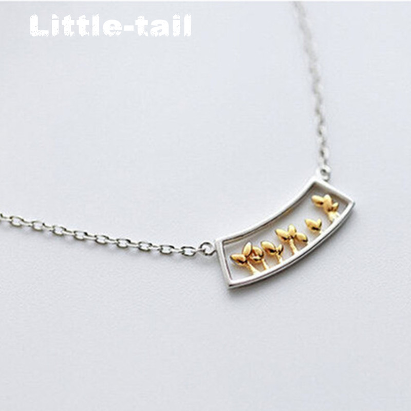 925 Sterling Silver Necklace female silver plated necklace grass plant window sweet fresh fashion chain female literary clavicle(China (Mainland))