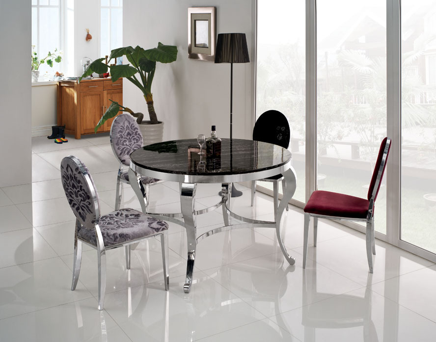 Stone Dining Set Promotion Online Shopping for Promotional  : High quality marble top round font b Dining b font Table with stainless steel frame modern from www.aliexpress.com size 888 x 697 jpeg 123kB