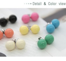 E002  Wholesales 2015 New Fashion Lovely Colors Alloy Candy Ball Stud Earrings Jewelry Accessories(China (Mainland))