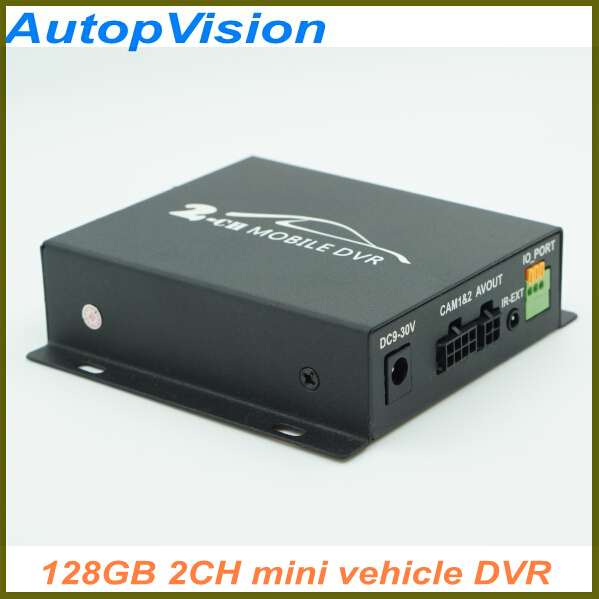 Mini CCTV 2 Channel Mobile Taxi Bus Vehicle Security DVR Motion Detect  Audio I/O Alarm Realtime Support SD Card 128GB  car dvr