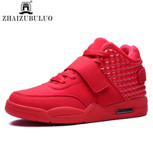 Fashion Autumn New 2015 Men Casual Shoes Red Suede Leather Men High Top Casual Shoes Breathable Winter Men Boots Red Botas Blue