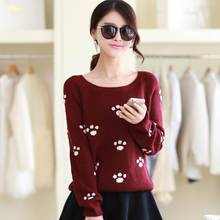 The new 2016 women sweater towel round collar short paragraph embroidered dot footprint long-sleeved sweater coat(China (Mainland))