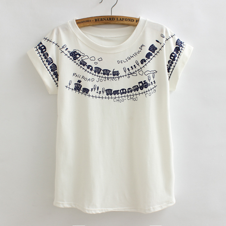 2016 Summer Women T shirt Vintage Train Abstract Pattern Cotton Casual T Shirts For Tops Tees White Short Sleeve T-Shirt Women(China (Mainland))