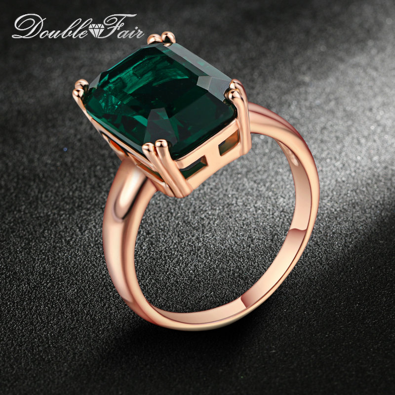 Double Fair Brand Green Crystal Ring Rose Gold Color Fashion Red/Green Big Crystal Red Crystal Wedding Jewelry Women DFR700