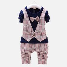 2016 Spring Autumn style ,Plaid 4 colors, Baby boy Clothes Suit, Long Sleeve Vest tie T-shirt + Pants 2 piece Clothing Set