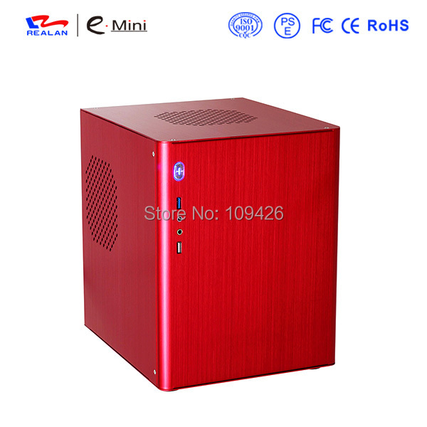 REALAN industrial mini itx micro atx computer case E-D5 with slots aluminum 1.0/1.5mm (black, silver, red, golden)(China (Mainland))