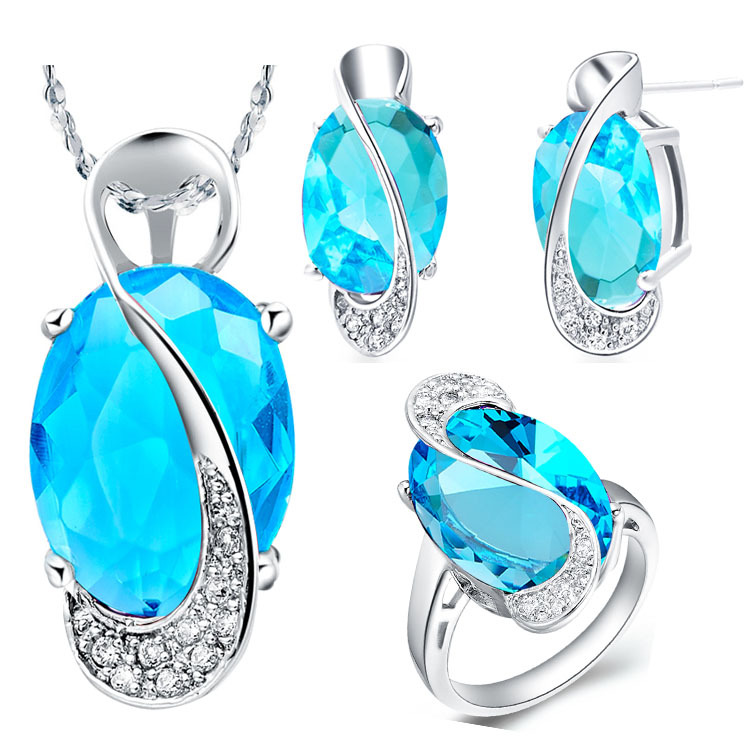 Wedding Bridal Jewelry Sets 925 Sterling Silver Crystal Necklace Earrings Ring Jewelry Set Mystic Topaz 20% off Ulove T155(China (Mainland))