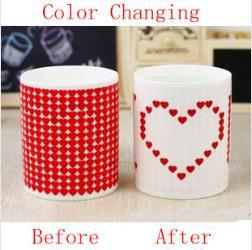 Free shipping Love Color Changing Mug Cup Great Gift Ceramic Cup Drop shipping(China (Mainland))