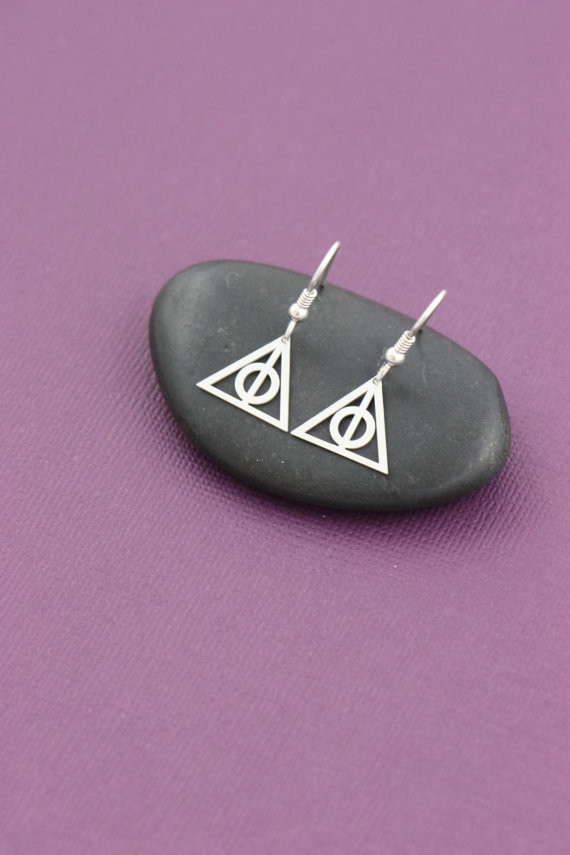 Deathly Hallows Dangle Charm Silver Earrings
