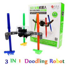3-in-1 DIY electric Doodling Robot Kit Educational Toy for Kid Color assembling blocks toys doodle toy Pen and Brush included(China (Mainland))