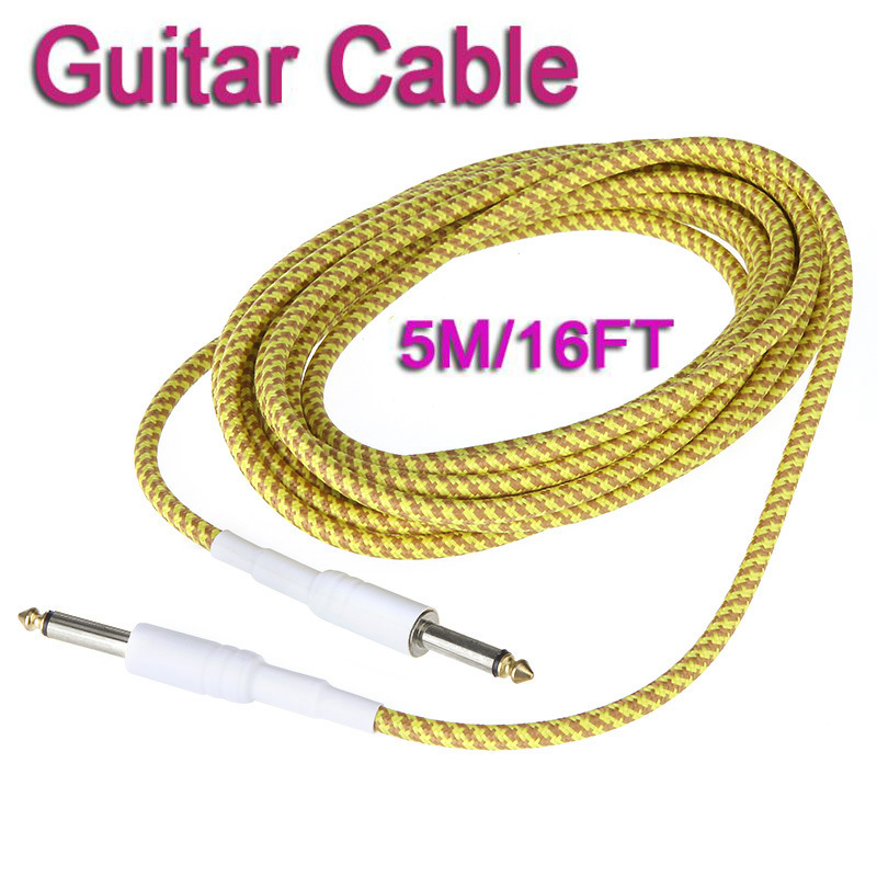 5M / 16FT Yellow & Brown Cloth Braided Tweed Guitar Cable Cord Free shipping Drop Shipping Wholesale