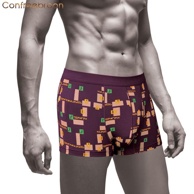 Environmental Dyeing So Soft Modal Men's Boxers Underwear Print Letter Shorts Brand Cuecas Underpants Male Panties 6135