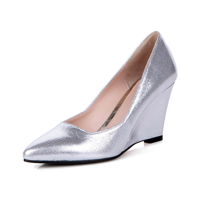 get cheap silver wedge wedding shoes aliexpress