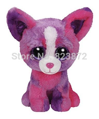 New TY Plush Animals Beanie Boos Dakota Pink Purple Chihuahua Dog 6'' 15cm Ty Big Eyes Stuffed Animal Soft Toys for Children(China (Mainland))