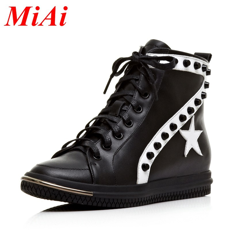 2015 New fashion leather women boots round toe rivets zipper school shoes boots women wedge heel ankle boots black winter boots<br><br>Aliexpress