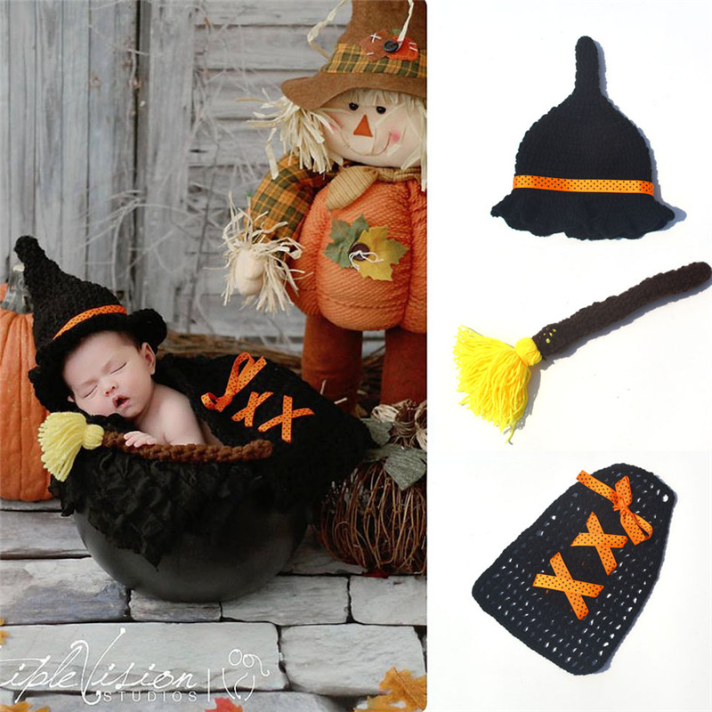 New Arrival Knitted Black Color Harry Potter Crochet Costumes Knitted Baby Hats Caps and Magic Broom Set Baby Photo Props(China (Mainland))