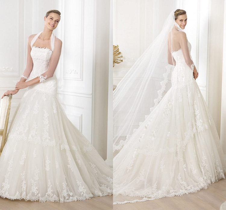 2014 European and American popular wedding dress factory direct sales, sales of high-end fashion styles of lace(China (Mainland))