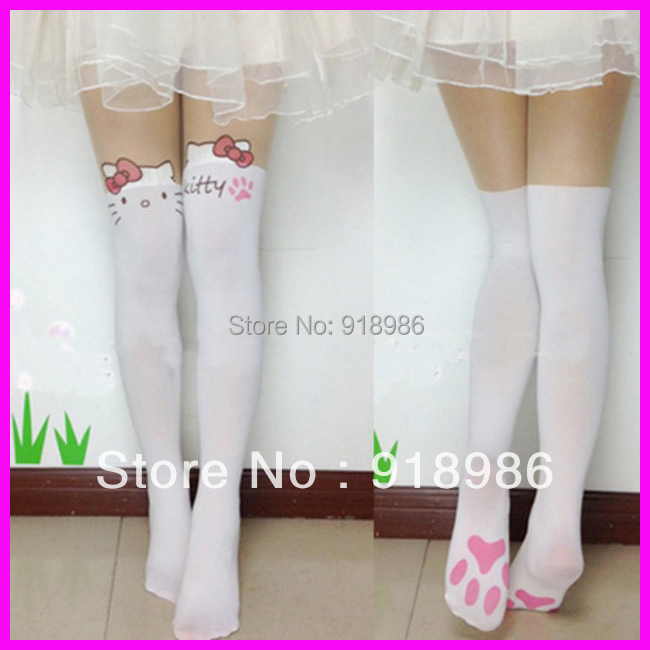 Free Shipping 2016 New Arrival Fashion Women's Cute Hello Kitty Pantyhose Pink Cat Tattoo Pantyhose Tights(China (Mainland))