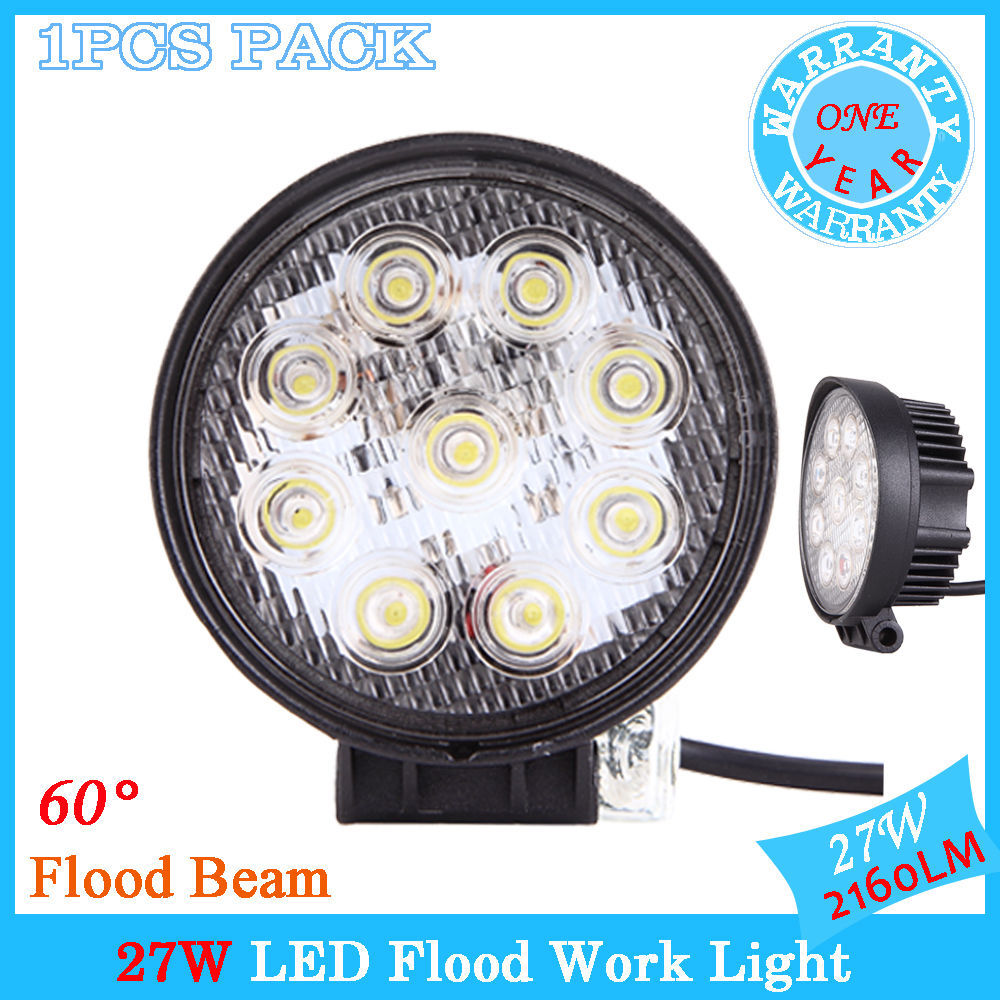 "1PCS LED Work Light 4"" Inch 27W 12V 24V Driving Fog Flood Lamp for Motorcycle Tractor Truck Trailer SUV Off roads Boat 4WD 4x4(China (Mainland))"