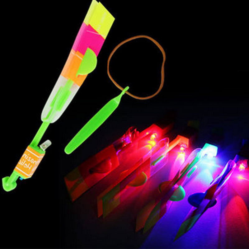 Funny Led Light Shining Rocket Flash Arrow Helicopter Rubber Band Sling Shot(China (Mainland))