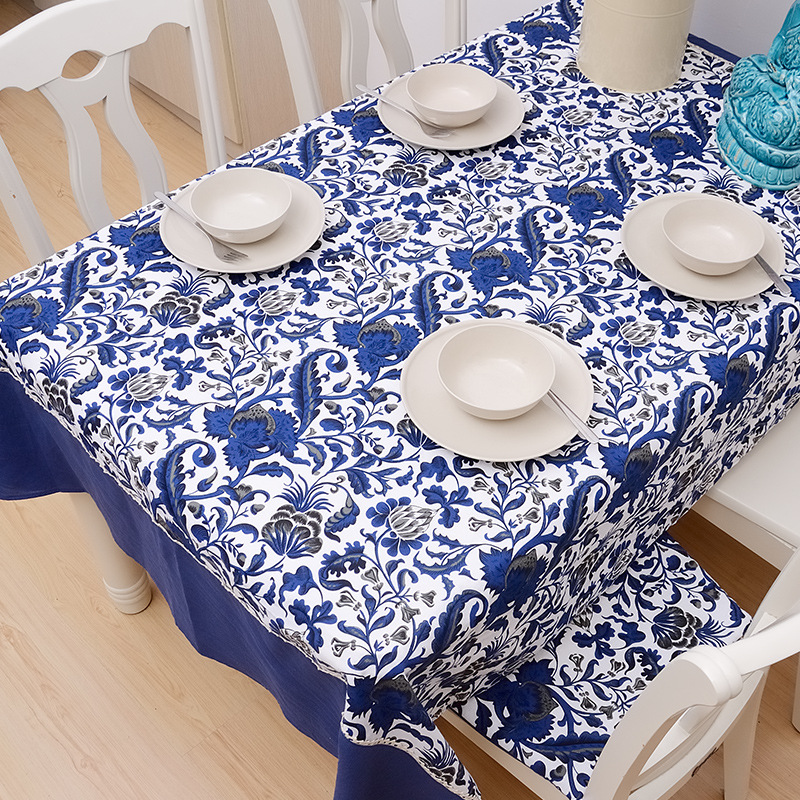 Blue Chinese style South Beauty of blue and white porcelain color lace cotton table cloth manteles para mesa nappe Toalha(China (Mainland))