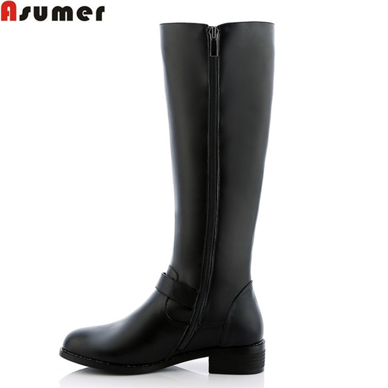 2016 fashion high quality women winter boots low heel round toe platform shoes genuine leather solid black mid calf boots<br><br>Aliexpress
