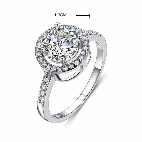 Promotion super shiny 4 carat CZ diamond 30% silver plated ladies`wedding rings jewelry wholesale drop shipping gift