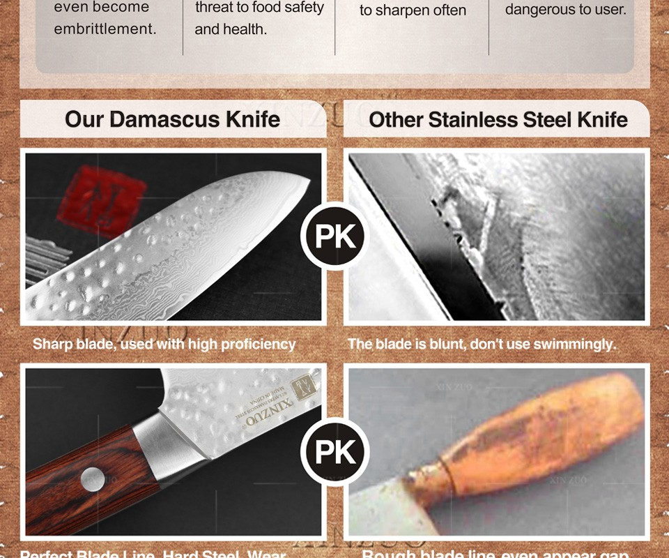 "Buy HOT SALE XINZUO 5 "" japanese chef knife 67 layers Japanese Damascus kitchen knife VG10 santoku knife wood handle free shipping cheap"