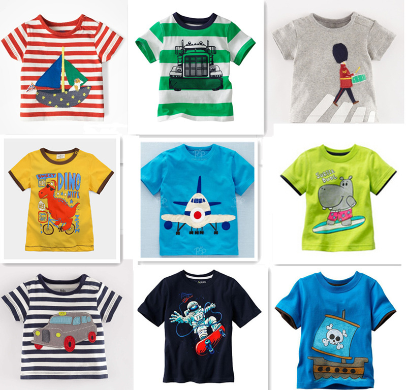 Retail 1 new Brand 2015 new Blouse boys t shirt kids clothing 100%cotton childrens clothes Summer short tee Cartoon dinosaur(China (Mainland))