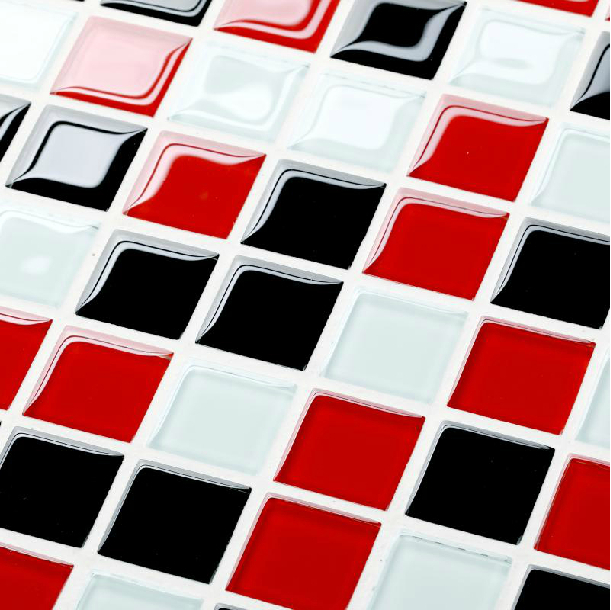 glass white red black tile backsplash kitchen bath shower mosaic tiles