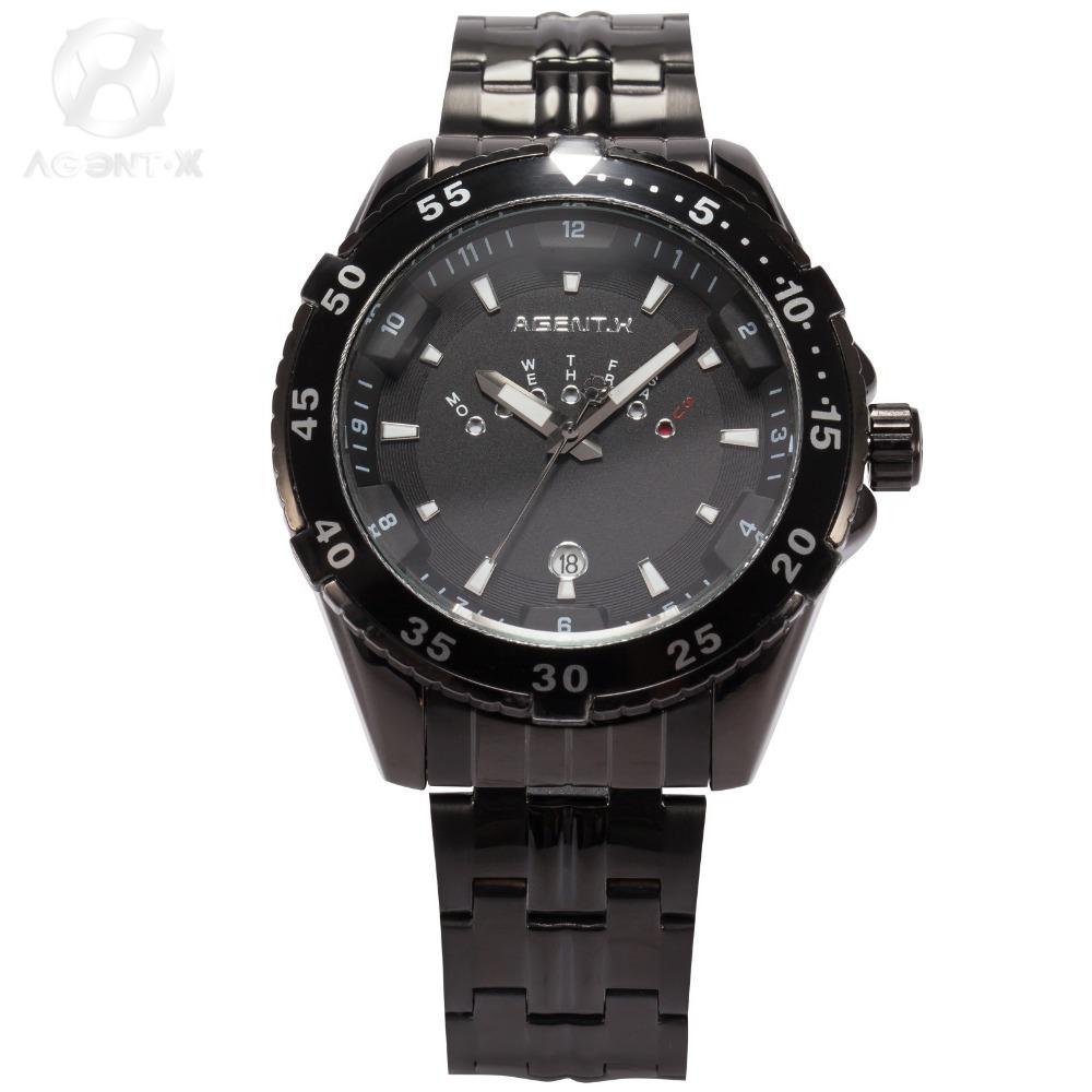 AGENTX Luxury Brand Date Day Display Black Relogio Male Full Stainless Steel Strap Quartz Clock Men Sport Military Watch /AGX104(China (Mainland))