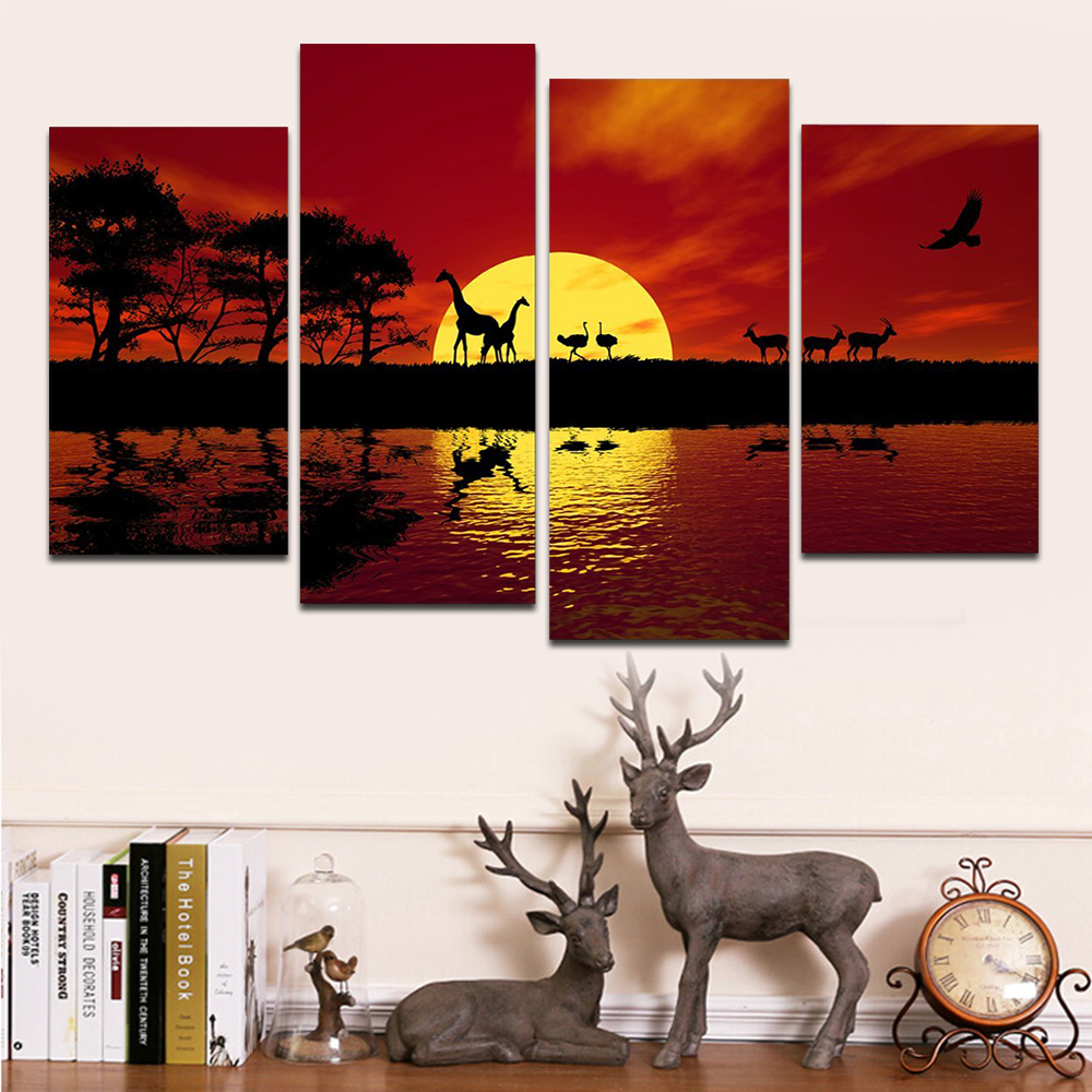 Africa Red Tone Modern Landscape Canvas Prints <font><b>African</b></font> Pictures Paintings on Canvas Wall Art <font><b>Home</b></font> <font><b>Decorations</b></font> Ready to Hang 4pcs