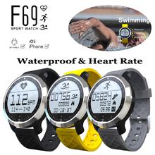 IP68 Waterproof Smart Watch with Heart Rate Monitor F69 Swimming Sports Smartwach Bluetooth Wristband Health Tracker Bracelet