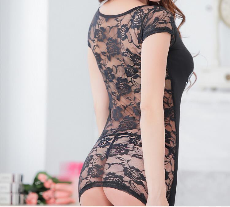 Sexy Women Lady Lingerie+Thong Babydoll Lace Off Shoulder Backless Sheer Mini Dress Underwear Sleepwear Black(China (Mainland))