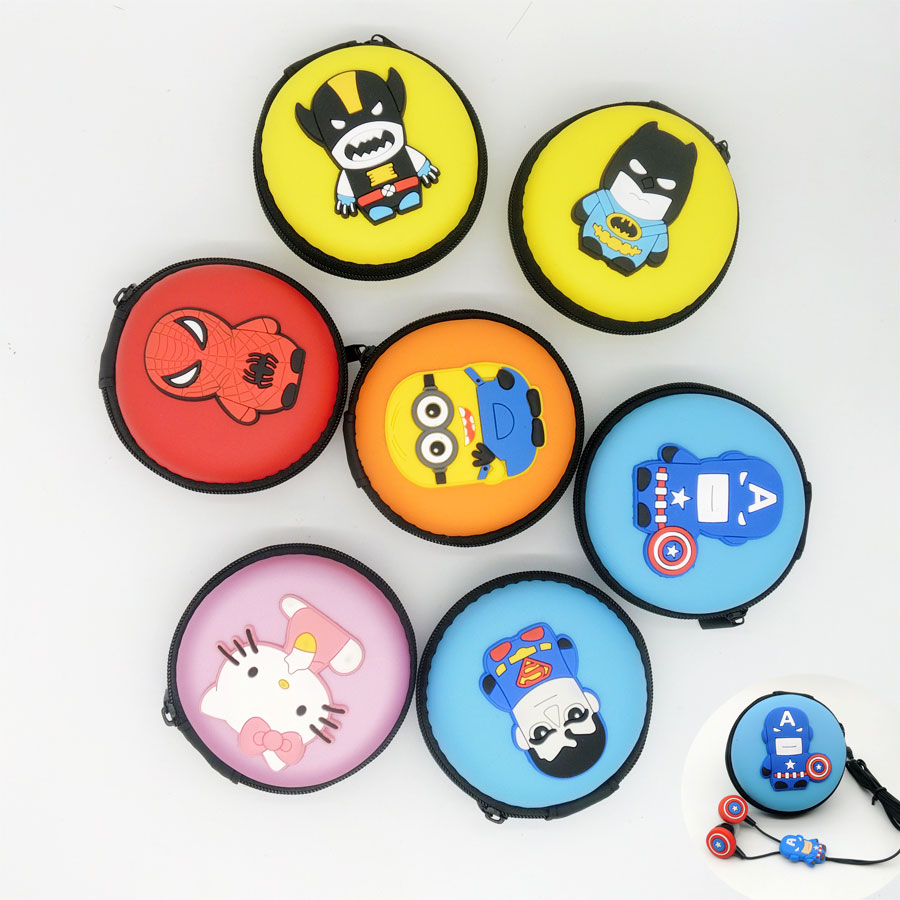 2016 Top Quality Cartoon Hello Kitty Superhero spider-man avengers Despicable me headset earphone with packaging(China (Mainland))