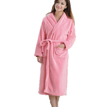 New Hot Unisex Women Bathrobe Long Sleeve Shawl Collar Coral Fleece Sleepwear Spa Shawl 7 Colors(China (Mainland))