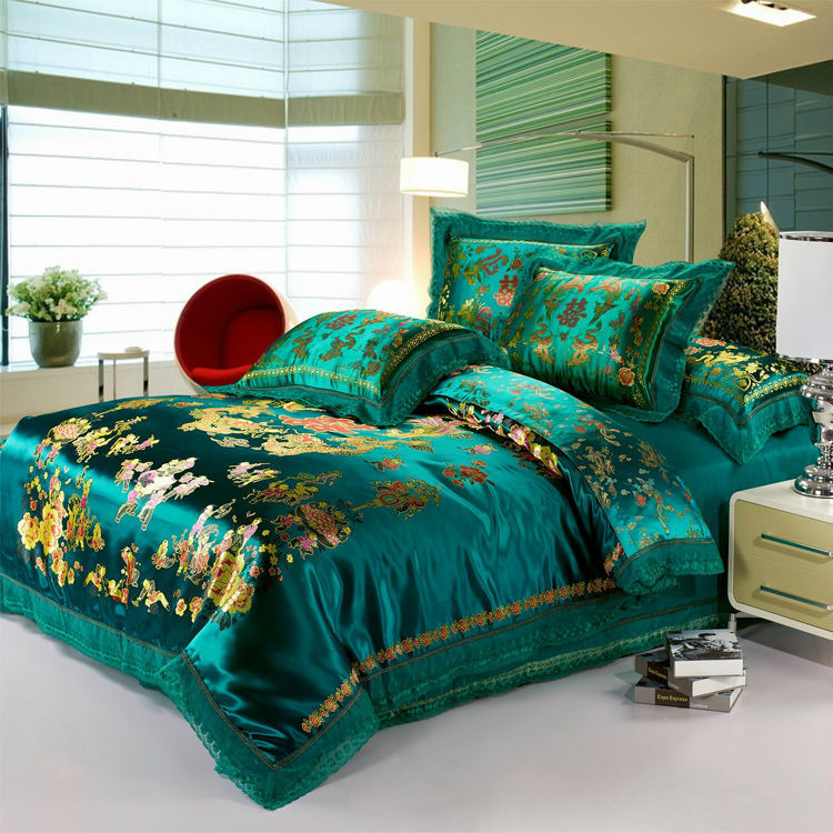 Luxury green bedding set 4pc dragon and phoenix silk for Luxury cotton comforter sets