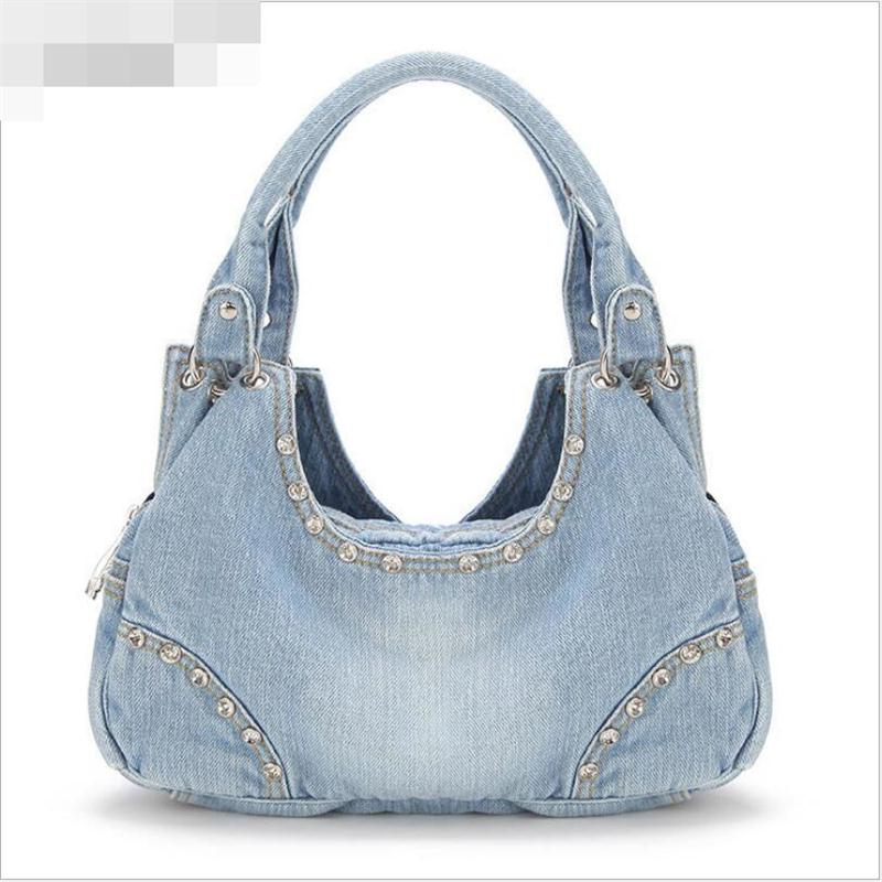 Denim Bag Fashion Washed Denim Handbag Diamond Messenger Bag Woman Love Cowboy Shoulder Bag Stars Favorite(China (Mainland))