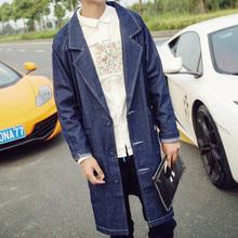 2016 new men trench coat men autumn winter jeans coat Mens retro hip-hop loose long coat jacket cowboy fashion denim coat K402(China (Mainland))