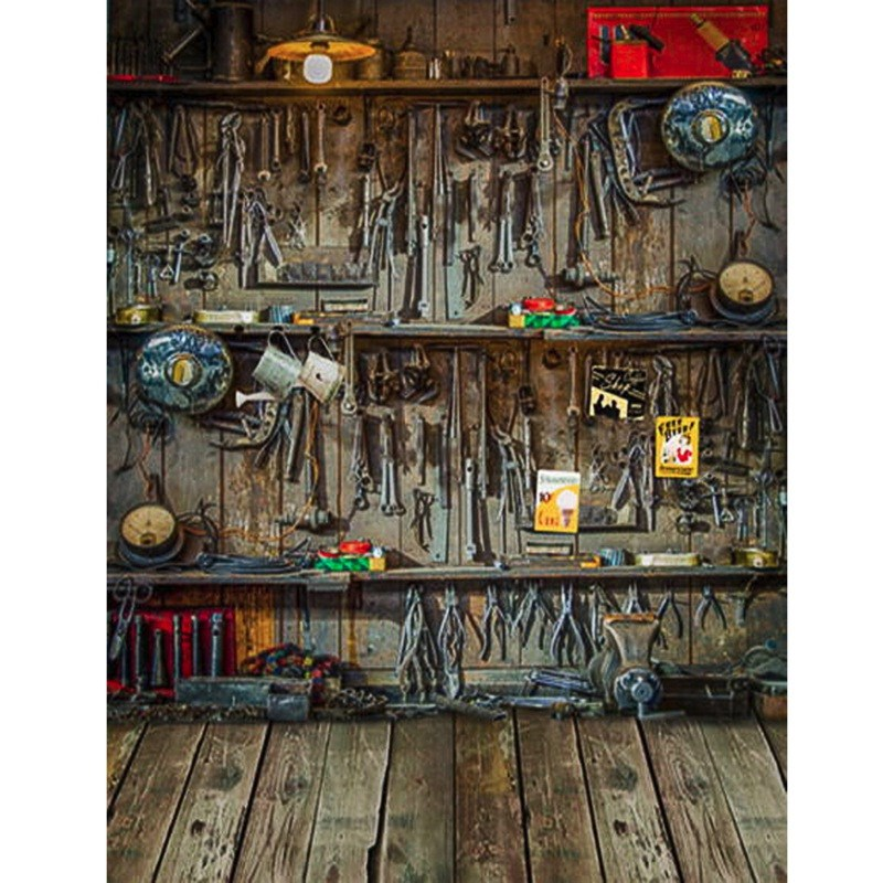 3x5ft Tool Warehouse Wall Wood Floor Vinyl Photography Background For Studio Photo Props Photographic Backdrops cloth 1x1.5m(China (Mainland))